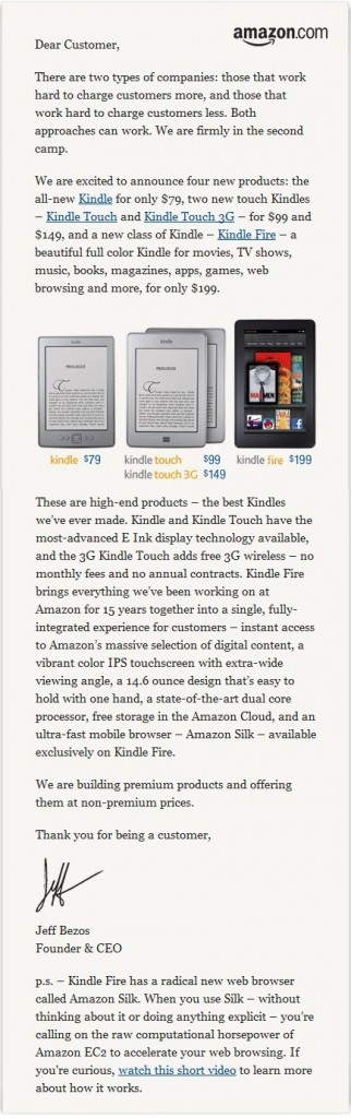 Amazon Kindle Sales Letter