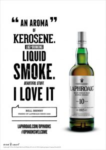 Laphroaig Ad Kerosene
